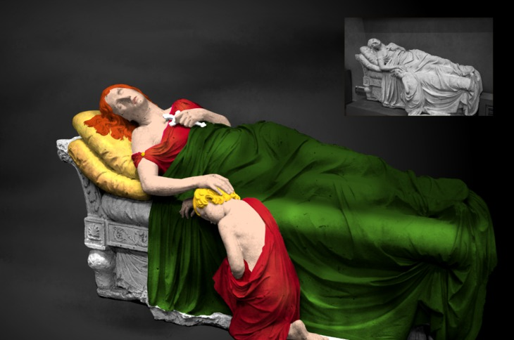 Awake statues or stone sculptures to life by colorizing them