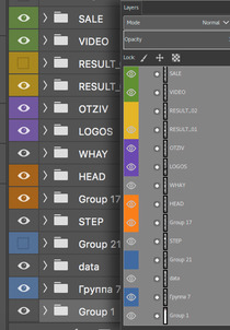 layer groups containing color tags